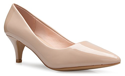 (OLIVIA K Women's Classic D'Orsay Closed Toe Kitten Heel Pump - Casual, Comfort Beige)