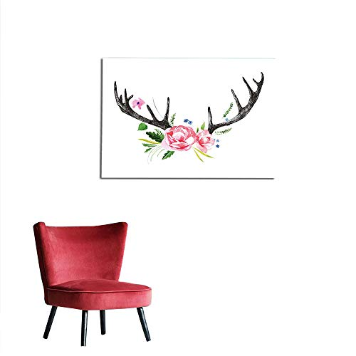 Wall Sticker Decals Antler Decor,Black Deer Horns with for sale  Delivered anywhere in Canada