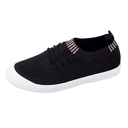 Women's Breathable Mesh Sport Shoes Lightweight Athletic Shoes Running Slip On Sneakers Comfortable Loafers Lace Up (Black, US:5.5)