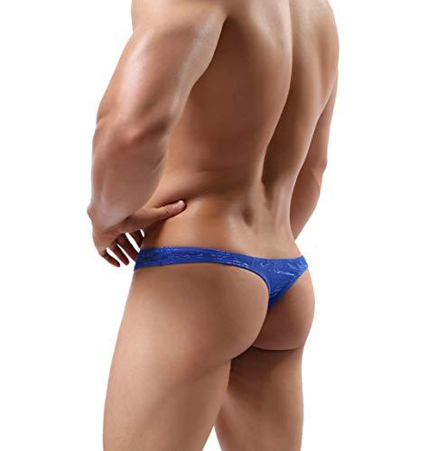 MuscleMate Men's Thong Underwear, Men's Lace Thong Underwear, No Visible Lines, Men's Lace Thong G-String Undie (XL, Blue) (Male Lace Thongs)