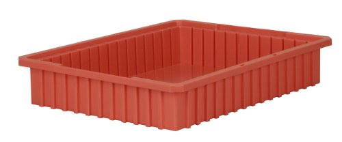 Akro-Mils 33224 Akro-Grid Slotted Divider Plastic Tote Box, 22-3/8 -Inch Length by 17-3/8-Inch Width by 4-Inch Height, Case of 6, Red -