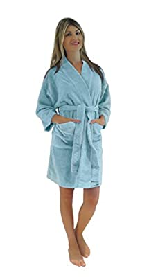 Bath & Robes Women's Chenille Short Robe Mid Knee Length Soft Bathrobe