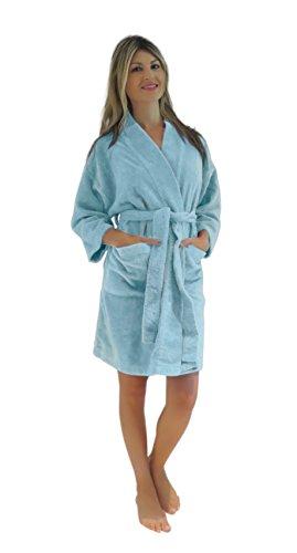 Bath & Robes Women's Chenille Short Robe Mid Length Soft Bathrobe 1X/2X Mint