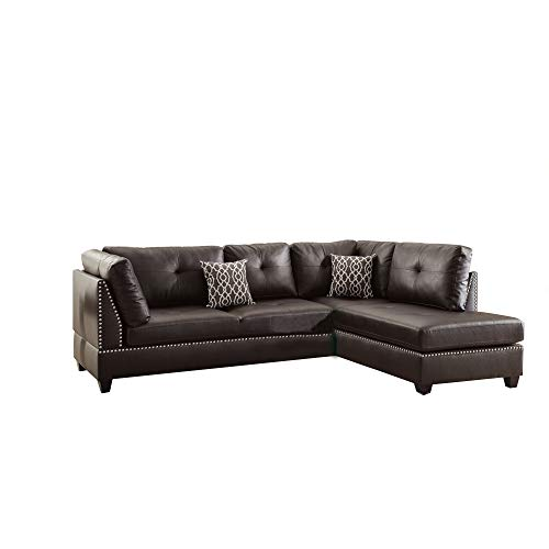 Benzara BM168760 Plushed Bonded Leather Sectional Sofa with Ottoman and Pillows, Brown