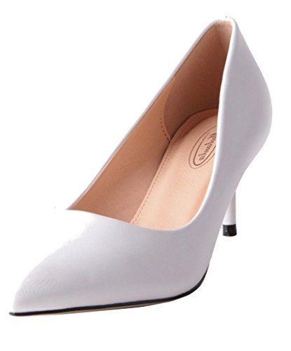 SHU CRAZY Womens Ladies Faux Leather Stiletto Heel Pointed Toe Fashion Pumps Court Shoes - K55 White
