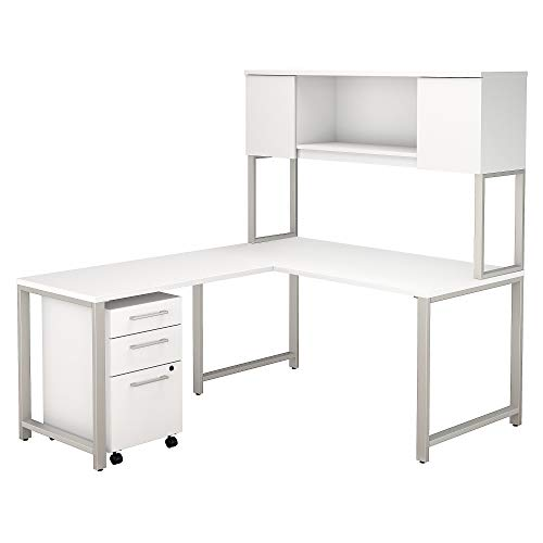 Bush Business Furniture 400 Series 60W x 30D L Shaped Desk with Hutch, 42W Return and 3 Drawer Mobile File Cabinet in White