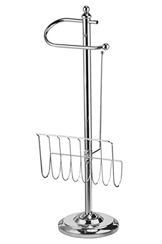 - American Chateau Free Standing Chrome Double/Jumbo Rolls Toilet Paper Storage Stand Magazine Rack