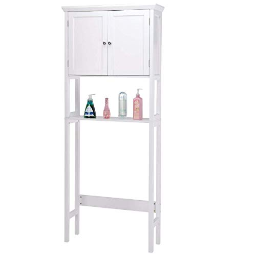 Environmental Toilet Phillips (Giantex Over-The-Toilet Bathroom Storage Space Saver with Towel Rack Shelf Cabinet Collette, White)
