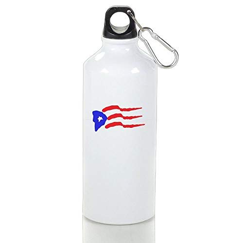 BELLM Hunting Aluminum Water Bottle Puerto Rico Flag Sport Bottle 14Oz(2.55.5 in)