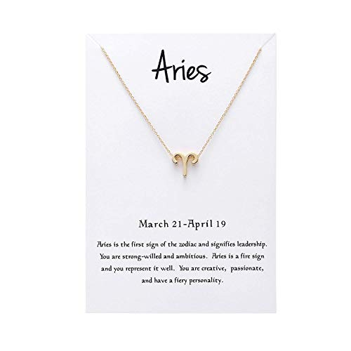 EONSIRIS Horoscope Aries Pendant Necklace Astrology Signs Constellation Zodiac Gold Plated Chain with Gifts Card for Women Girls