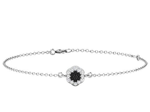 Libertini bracelet argent 925 femme plaque or Rose serti de Diamant en forme de Fleur