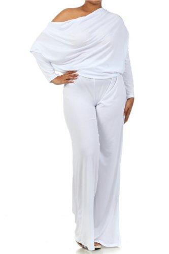 PLUS MULTI WAY Reversible PLUNGING Convertible Romper Jumpsuit Off One Shoulder Halter - White - 3XL