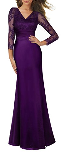 HOMEYEE Women's 1920s Wedding Party Cocktail Lace Bridesmaid Maxi Dress A019
