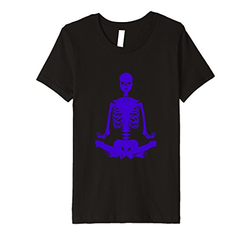 Kids Funny Yoga Skeleton Halloween Novelty Costume T shirt 8 Black