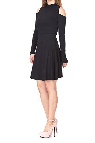 Multi-style High Waist A-line Flared Skater Mini Skirt (M, Black) (Petite Linen Pencil Skirt)