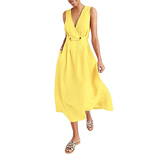 Women Long Dress for Wedding,YEZIJIN Fashion Women V-Neck Pure Color Vest Sleeveless Button Easy Sandy Beach Dress Yellow]()