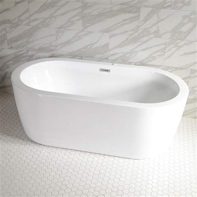 SanSiro 'Augusta67CAJ' 67 x 35 inch Center Drain HOT AIR JETTED High Gloss White ACRYLIC Freestanding Bathtub