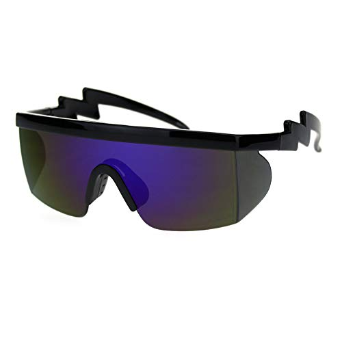 Flat Top Crooked Bolt Arm Goggle Style Color Mirror Shield 80s Sunglasses (Black Blue ()