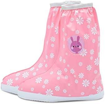 子供のレインブーツ、高防水滑り止め靴カバー厚い靴カバー折りたたみポータブル靴カバー再利用可能,ピンク,L