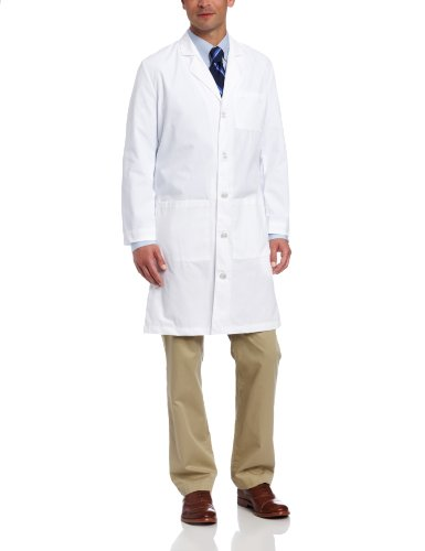 Landau Men's Scrub Lab Coat, White WWY, 42
