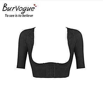 8f3aa4685 Burvogue Hot Shaper Push Up Short Sleeve Crop Tops Slimming Control Arm  Shapewear One-Piece Shaper Fashion Women Shapers Color Black Size 90   Amazon.in  ...