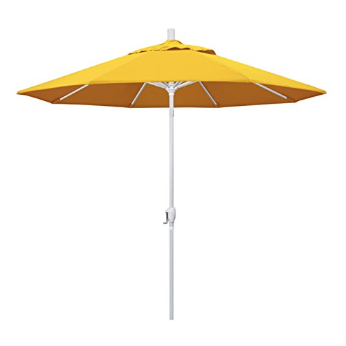 - California Umbrella 9' Round Aluminum Market Umbrella, Crank Lift, Push Button Tilt, White Pole, Sunbrella Sunflower Yellow