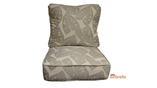 Sunbrella Radiant Silver Gray Tropical Leaf Cushion Set for Indoor / Outdoor Deep Seat Furniture Chair - Choose Size (Seat Cushion 25''w X 25''d) by Resort Spa Home Decor