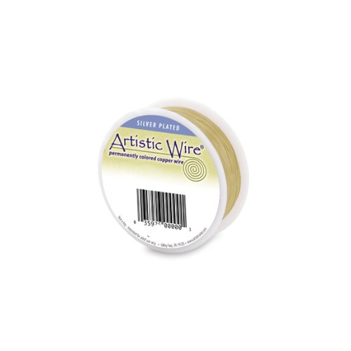 Artistic Wire Silver Plated Gold 18 Gauge 1/4lb Spool 49 Feet Round Wire