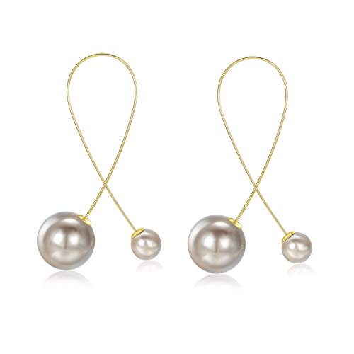 Threader Wired Pearl Drop Earring - 14k Gold Plated Lightweight Geometric Dangle Earring for Women (Brown) ()