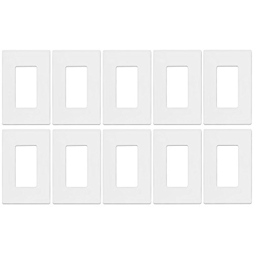 Screwless Decorator Wall Plate kit by Enerlites SI8831-W-10PCS Child Safe Outlet Cover for Rocker GFCI Light Timer Dimmer Switches, 1-Gang Standard Size, Unbreakable Plastic Material, White (10 Pack) (Wall Plate Outlet Plastic)