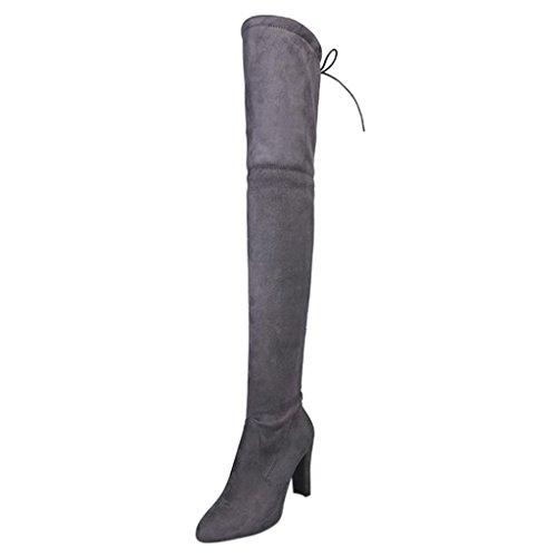 Bottes Femmes Talons Bottes Chaussures Faux À Zycshang Femme Cuissardes Gris Over Stretch Hautes genou Hauts tqnwnpdxOC