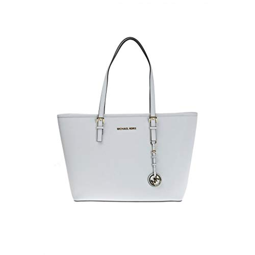 Michael Kors 35H7GTVT2L Jet Set Travel Tote Optic White (Light Blue Michael Kors Handbags)