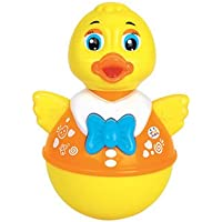 smartcraft Infants Push and Shake Wobbling Roly Poly Tumbler Duck with Soft and Sweet Bell Sounds Toys, 3 Months (Yellow) - Set of 1 Piece