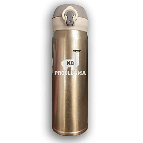 Dicobrune Double Wall Vacuum Insulated Stainless Steel Sports Water Bottle,No Probllama Funny Animal Always Be A Llama Stainless Steel Leak Proof Thermos 17 Oz ()