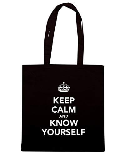 Speed Shirt Borsa Shopper Nera TKC0825 KEEP CALM AND KNOW YOURSELF