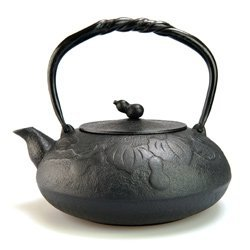 Comolife Japanese Traditional 'Nambu Tekki' Craft Tea Kettle 40.57 oz, Induction Cooker Enable, Color : Black, Pattern : Calabash