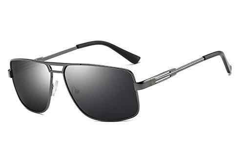 Sunglasses Gafas sol negro gafas gray gris macho cuadrado de polarizadas hombres de gris para sol bastidor hombres gray Guía Gafas TL q5dwpq