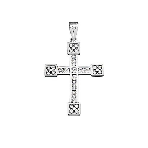 Croix pendentif 18k or blanc zircone cubique carré 2.5mm. [AA4962]