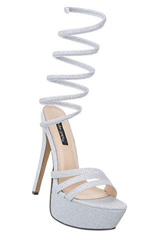 Damen Plateau Sandalette   Stiletto Sandalette   High Heels Pumps   exotische Schuhe   Hohe Pfennigabsatz Sandalette   Partypumps   Schuhcity24 Silber