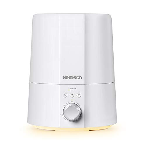 Homech Ultrasonic Cool Mist Humidifiers for Bedroom Home Office, 2.5L Filter-less Humidifier for Baby with Sleep Night…