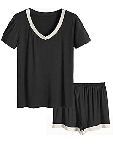 5d3408e28b76 Ritera Women Pajama Shorts Set Short Sleeve Pajamas PJS Sleepwear Nightwear