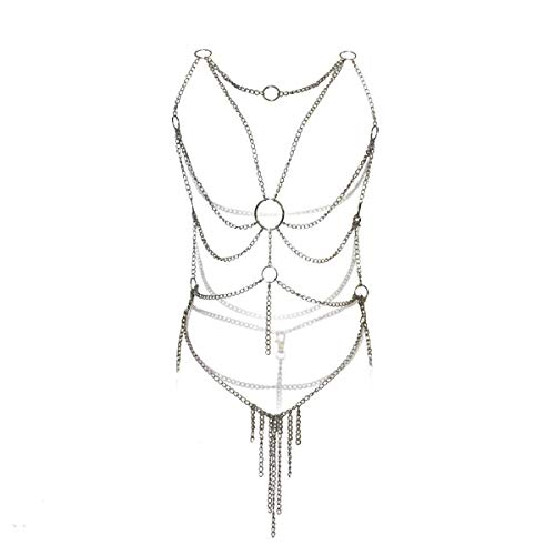 Sexemara Women's Lingerie Chain Set Cross Enticing Tassel Body Link Harness Sexy Metal Chain ()