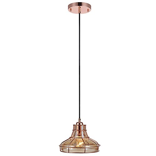 Teamson Design VN-L00032 Versanora - Illusione Vintage Style 1-Light Metal Pendant Lamp with Cage (Rose Glass Light Pendant)