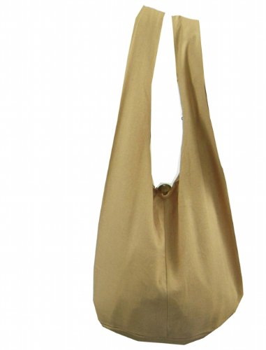 BTP! Thai Monk Buddha Cotton Sling Crossbody Messenger Bag Shlouder Purse Hippie Hobo Medium (Khaki M9)
