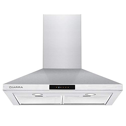 CIARRA Range Hood 30 Inch,3 Speeds,LED Light,Touch Control,2 Aluminum Filters,30″ Wall Chimney Vent Hoods