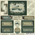 Scrapbook Customs Distressed Cardstock Stickers United States Collection Massachusetts