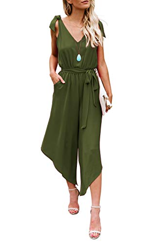 BELONGSCI Women Outfit Sleeveless Shoulder Bandage Waistband Sexy V-Neck Wide Leg Long Jumpsuit with Belt (Army Green, XS) -