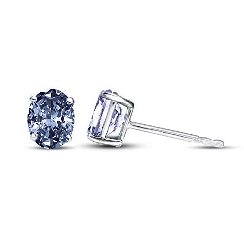 100% Real Diamond Earrings 1/2 ct IGI Certified Oval Blue Diamond Solitaire Earrings For Women Lab Grown Diamond Earrings 14K Blue-VS1-VS2 Quality Gold Real Diamond Stud Earrings