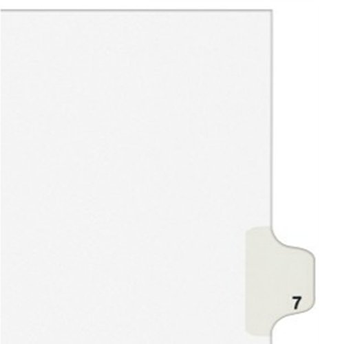 Avery 11917 Numeric Divider, Inch 7-Inch, Side Tab, 11-Inch x8-1/2-Inch, 25/PK, White