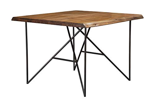 Alpine Furniture Acacia Wood Pub Table with Pointed Metal Legs, Brown and Black